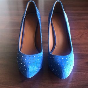 Colin Stuart blue suede heels with silver studs